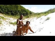 Nude amateur African couple makes sex at the beach