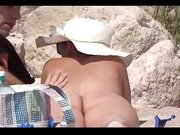 Nudist couples filmed at the beach