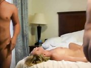 Amateur cuckold threesome my wife with two friends fucking